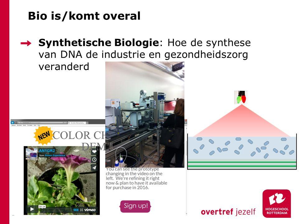 Bio is/komt overal Synthetische Biologie: Hoe de synthese van DNA de industrie en gezondheidszorg veranderd