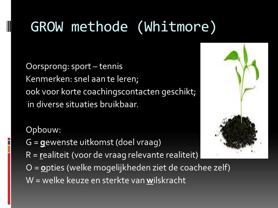 GROW methode (Whitmore) Oorsprong: sport – tennis Kenmerken: snel aan te leren; ook voor korte coachingscontacten geschikt; in diverse situaties bruikbaar.