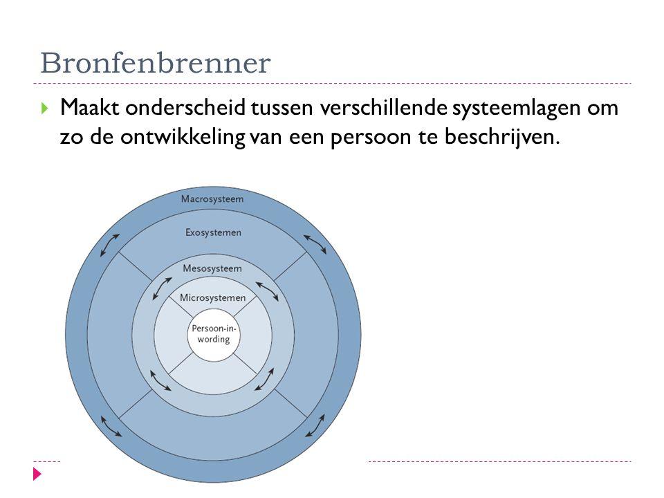 Bronfenbrenner  Maakt onderscheid tussen verschillende systeemlagen om zo de ontwikkeling van een persoon te beschrijven.