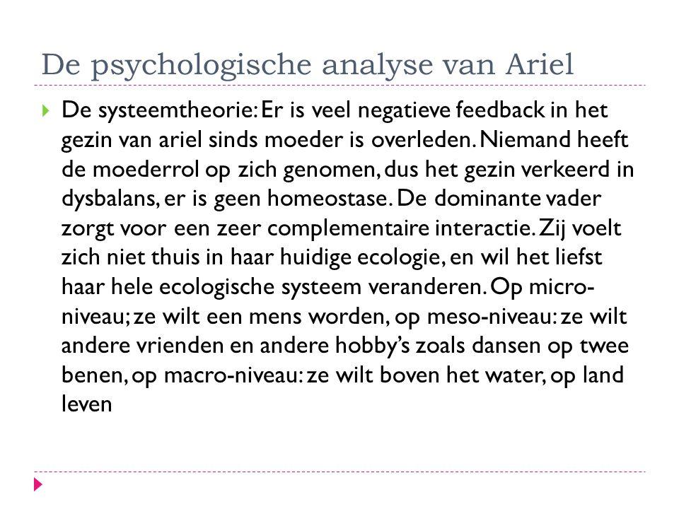 De psychologische analyse van Ariel  De systeemtheorie: Er is veel negatieve feedback in het gezin van ariel sinds moeder is overleden. Niemand heeft