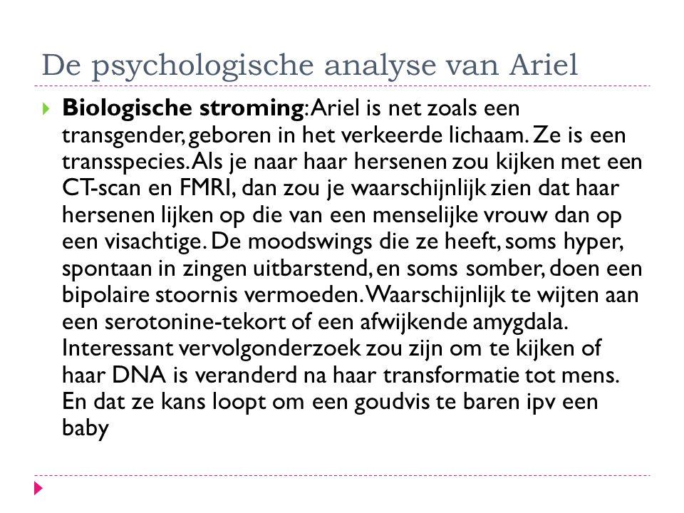 De psychologische analyse van Ariel  Biologische stroming: Ariel is net zoals een transgender, geboren in het verkeerde lichaam. Ze is een transspeci