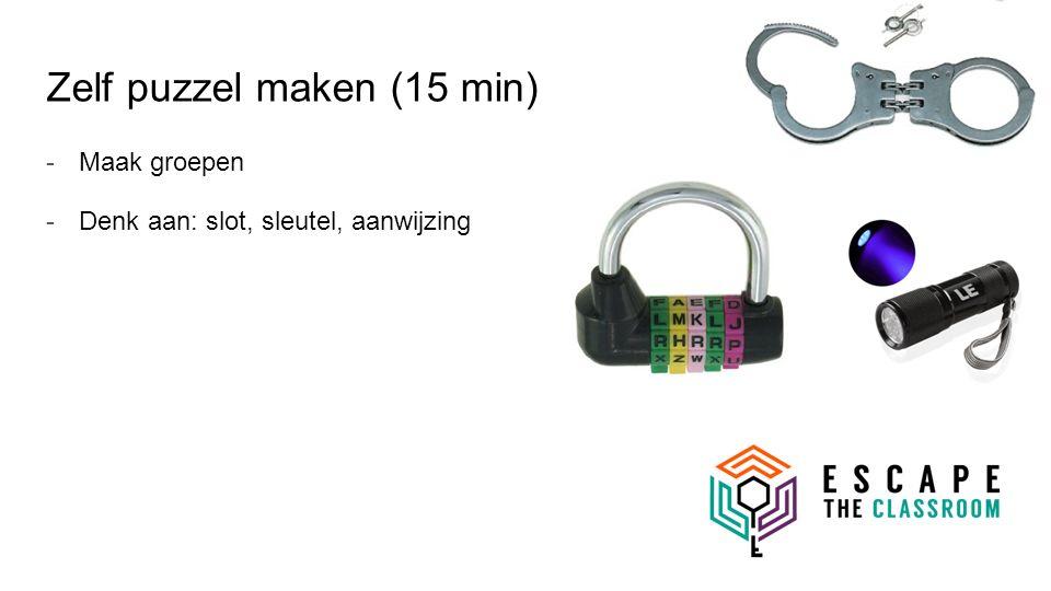 Zelf puzzel maken (15 min) -Maak groepen -Denk aan: slot, sleutel, aanwijzing
