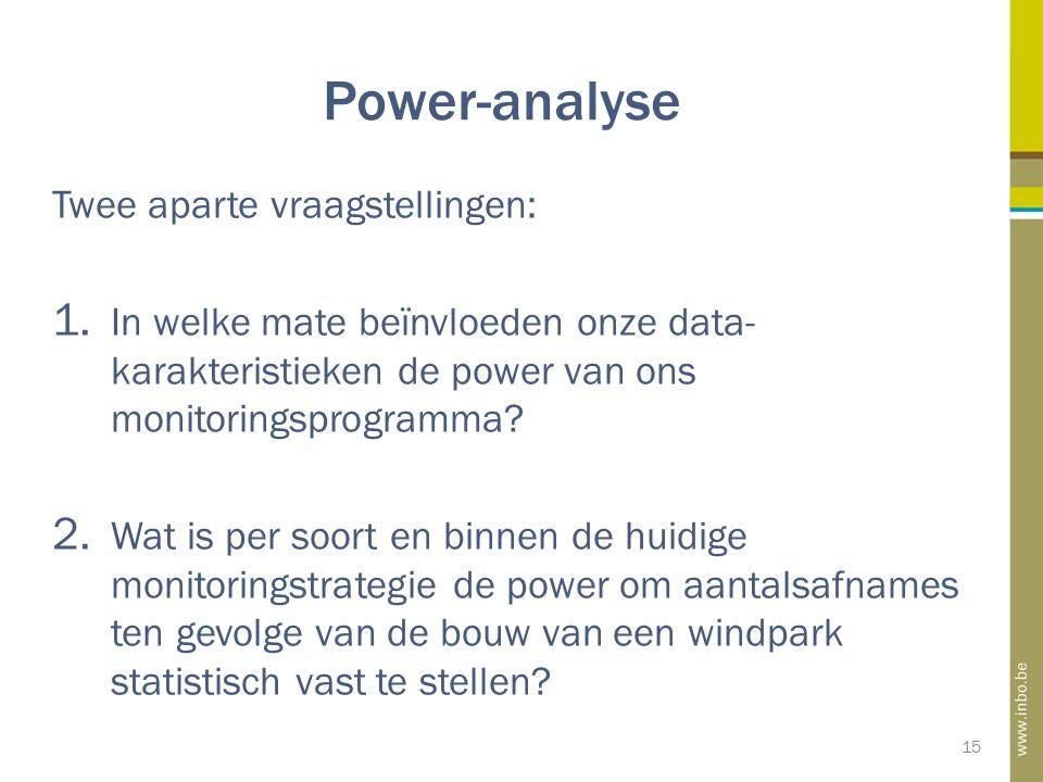 Power-analyse 15 Twee aparte vraagstellingen: 1. In welke mate beïnvloeden onze data- karakteristieken de power van ons monitoringsprogramma? 2. Wat i