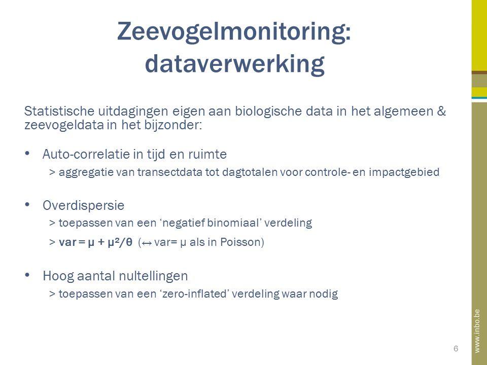Zeevogelmonitoring: dataverwerking 6 Statistische uitdagingen eigen aan biologische data in het algemeen & zeevogeldata in het bijzonder: Auto-correla
