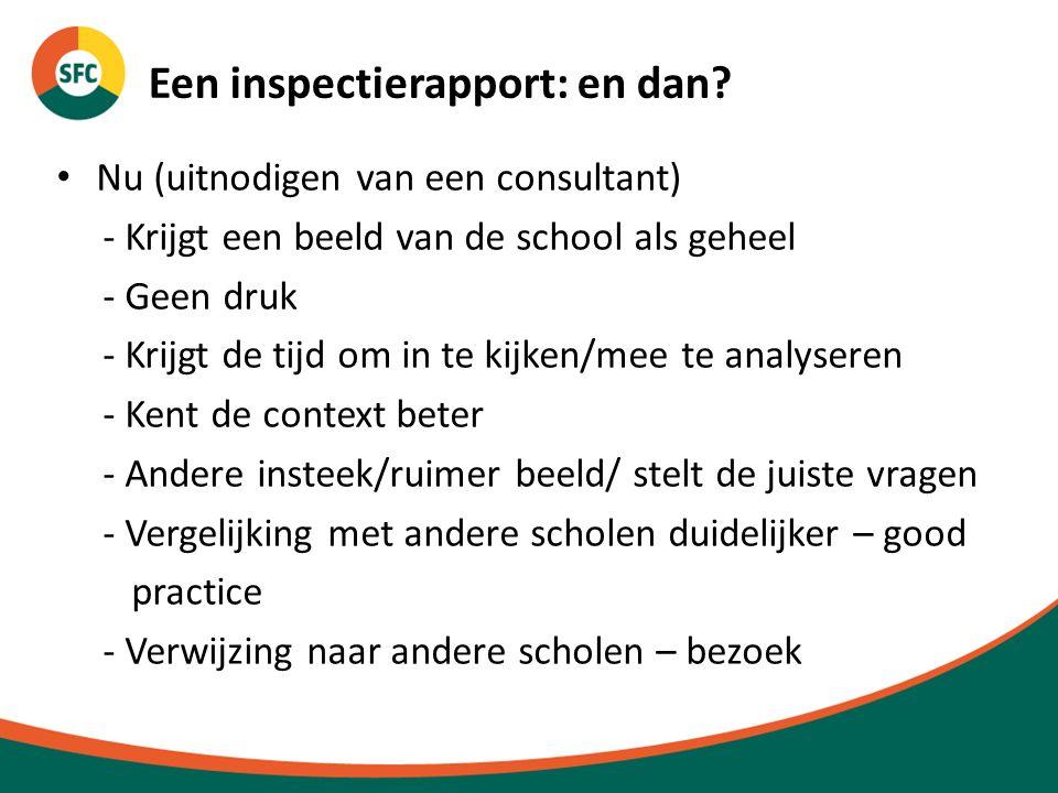 Een inspectierapport: en dan? Nu (uitnodigen van een consultant) - Krijgt een beeld van de school als geheel - Geen druk - Krijgt de tijd om in te kij