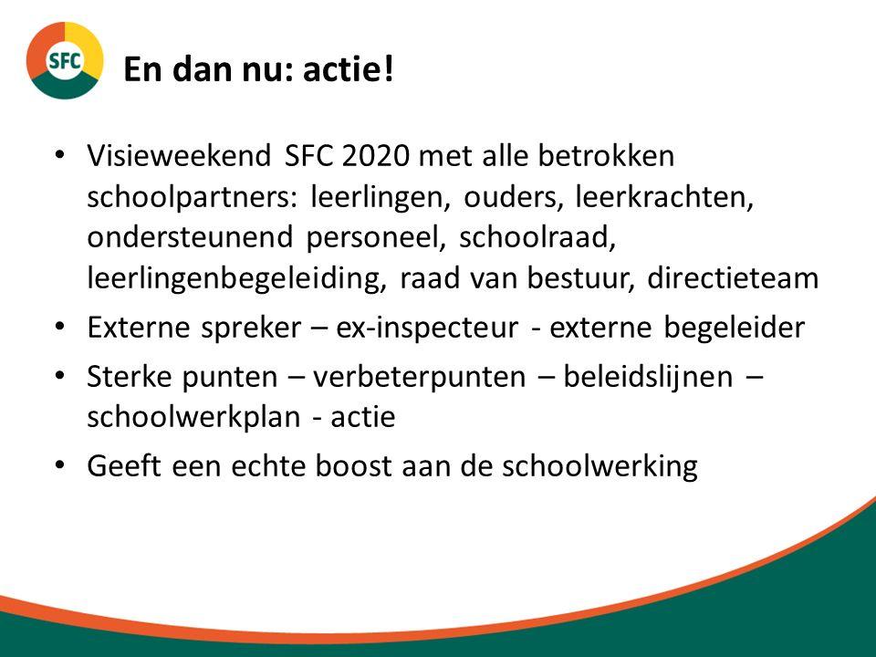 En dan nu: actie! Visieweekend SFC 2020 met alle betrokken schoolpartners: leerlingen, ouders, leerkrachten, ondersteunend personeel, schoolraad, leer