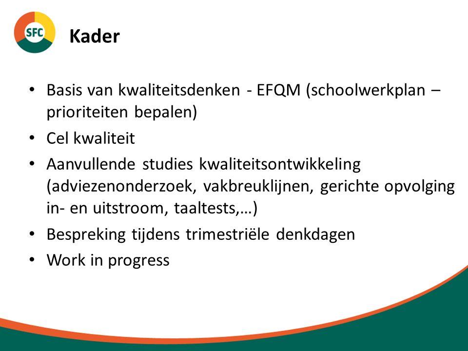Kader Basis van kwaliteitsdenken - EFQM (schoolwerkplan – prioriteiten bepalen) Cel kwaliteit Aanvullende studies kwaliteitsontwikkeling (adviezenonderzoek, vakbreuklijnen, gerichte opvolging in- en uitstroom, taaltests,…) Bespreking tijdens trimestriële denkdagen Work in progress