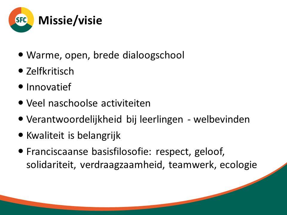 Missie/visie Warme, open, brede dialoogschool Zelfkritisch Innovatief Veel naschoolse activiteiten Verantwoordelijkheid bij leerlingen - welbevinden K