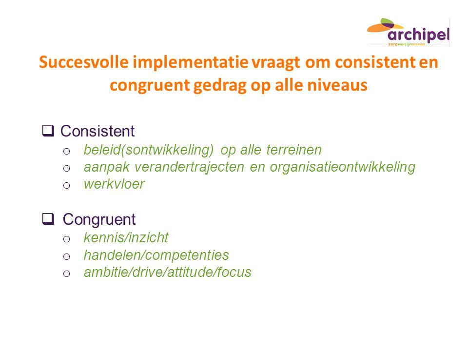 Succesvolle implementatie vraagt om consistent en congruent gedrag op alle niveaus  Consistent o beleid(sontwikkeling) op alle terreinen o aanpak ver