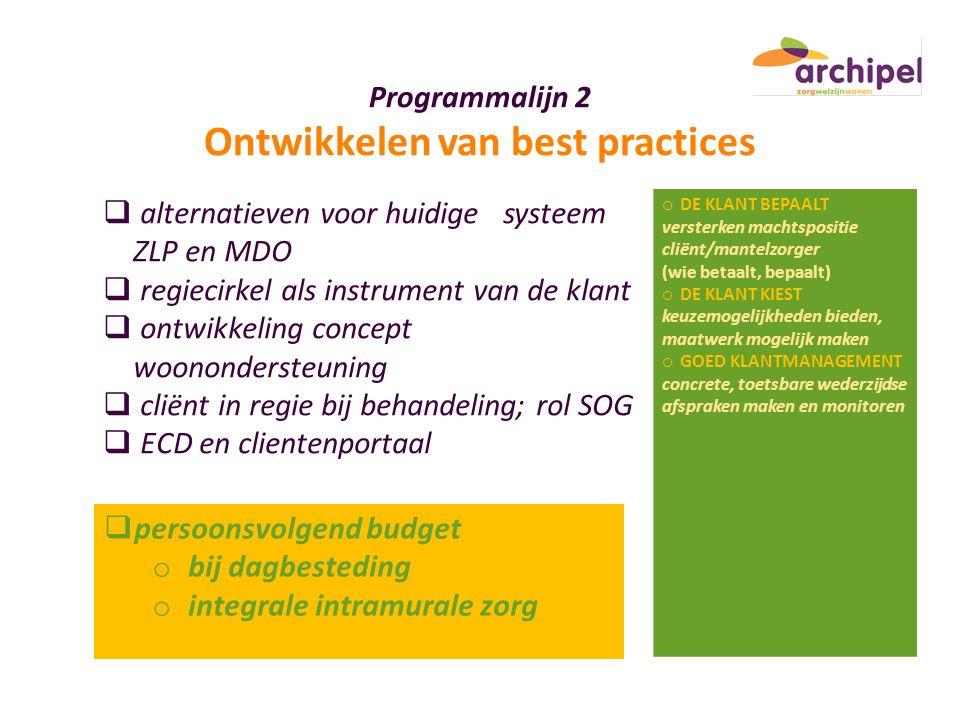 Programmalijn 2 Ontwikkelen van best practices  alternatieven voor huidige systeem ZLP en MDO  regiecirkel als instrument van de klant  ontwikkelin