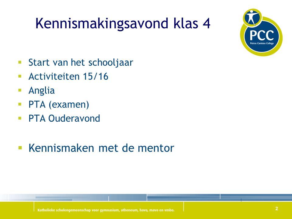 Kennismakingsavond klas 4  Start van het schooljaar  Activiteiten 15/16  Anglia  PTA (examen)  PTA Ouderavond  Kennismaken met de mentor 2