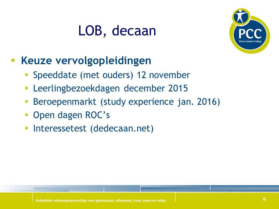 LOB, decaan  Keuze vervolgopleidingen  Speeddate (met ouders) 12 november  Leerlingbezoekdagen december 2015  Beroepenmarkt (study experience jan.