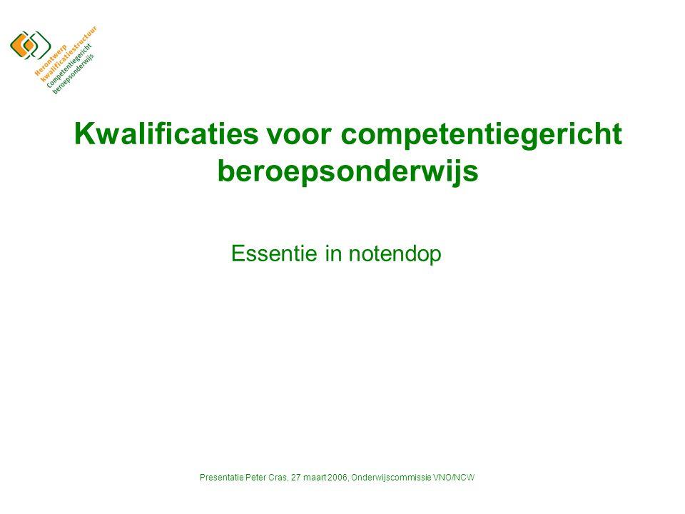 Presentatie Peter Cras, 27 maart 2006, Onderwijscommissie VNO/NCW Kwalificaties voor competentiegericht beroepsonderwijs Essentie in notendop