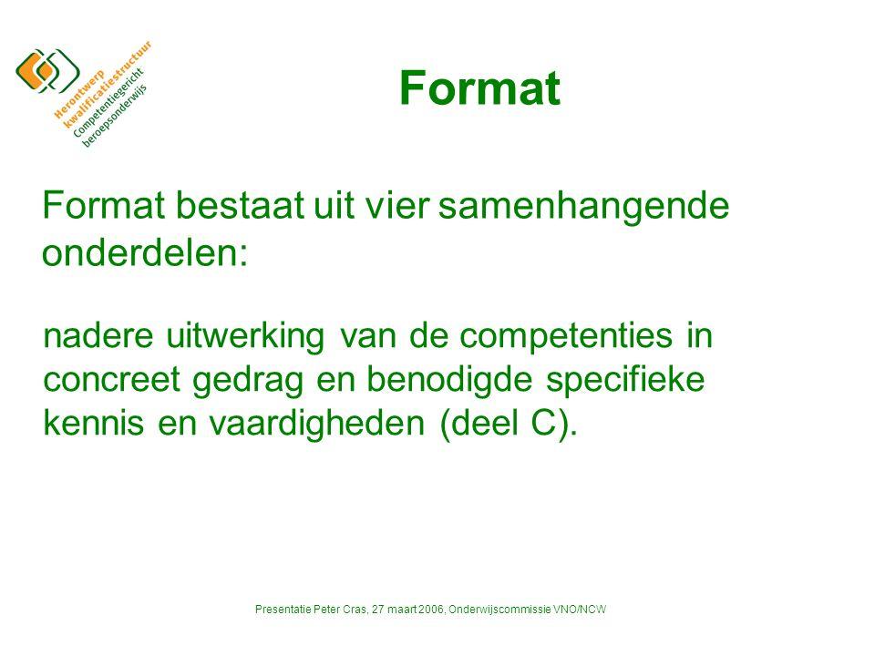 Presentatie Peter Cras, 27 maart 2006, Onderwijscommissie VNO/NCW Format nadere uitwerking van de competenties in concreet gedrag en benodigde specifieke kennis en vaardigheden (deel C).