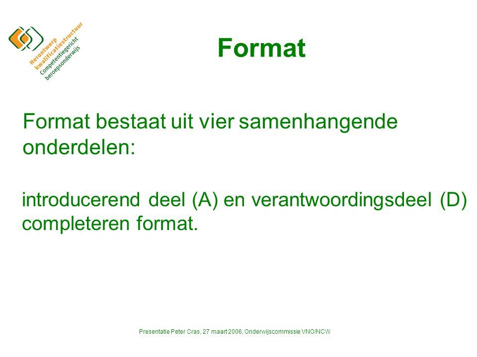 Presentatie Peter Cras, 27 maart 2006, Onderwijscommissie VNO/NCW Format introducerend deel (A) en verantwoordingsdeel (D) completeren format.