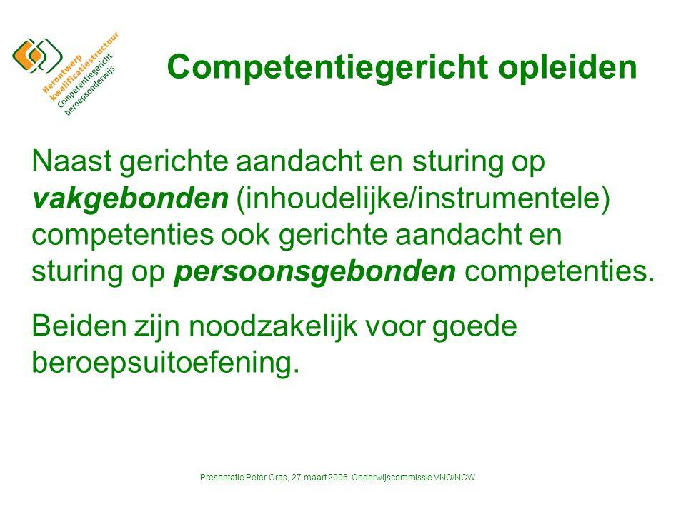 Presentatie Peter Cras, 27 maart 2006, Onderwijscommissie VNO/NCW Competentiegericht opleiden Aanvaarden dat de beroepsuitoefening continue aan verandering onderhevig is.