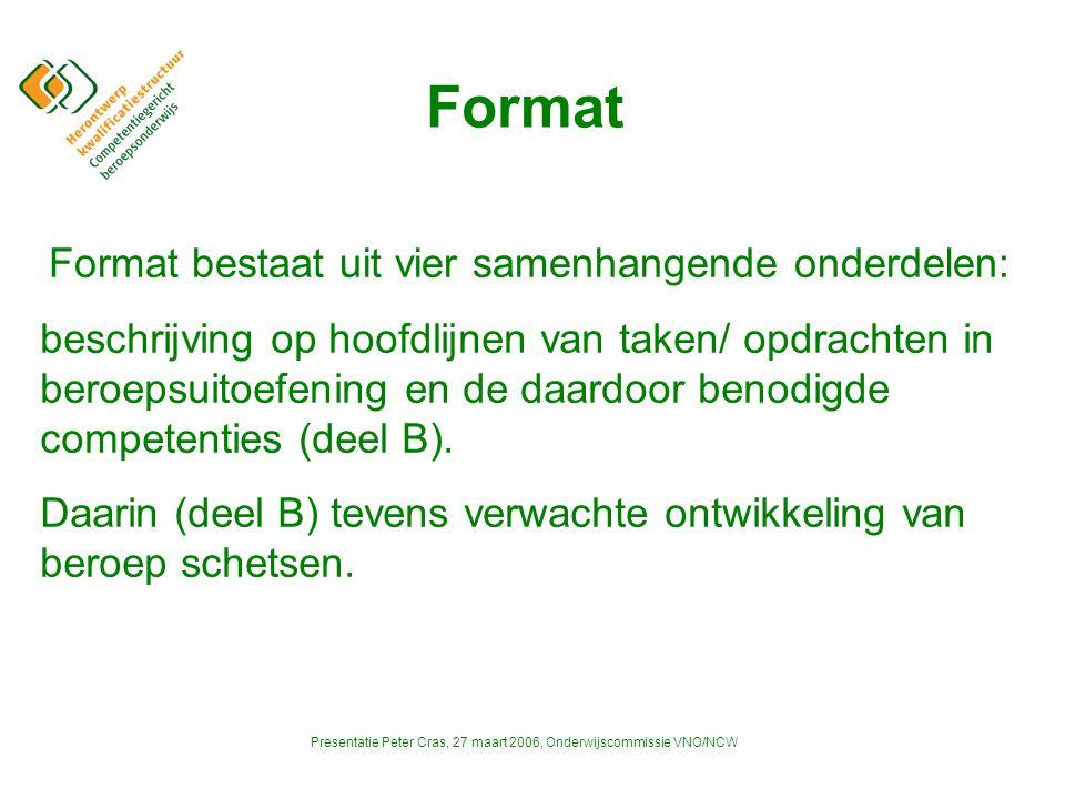Presentatie Peter Cras, 27 maart 2006, Onderwijscommissie VNO/NCW Format beschrijving op hoofdlijnen van taken/ opdrachten in beroepsuitoefening en de daardoor benodigde competenties (deel B).