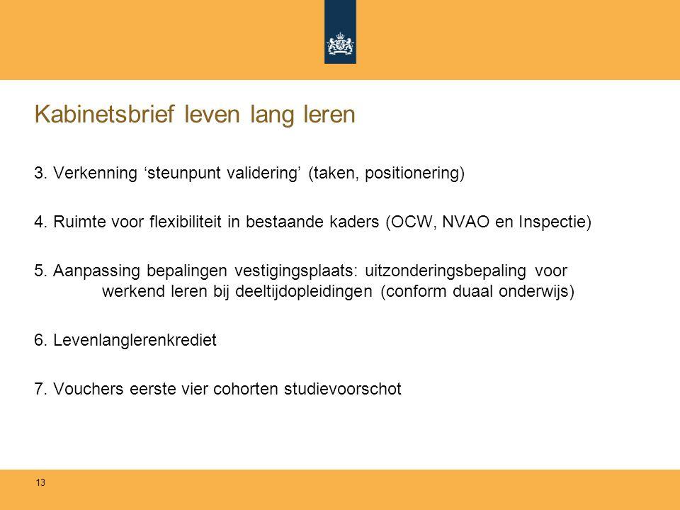 Kabinetsbrief leven lang leren 3. Verkenning 'steunpunt validering' (taken, positionering) 4.