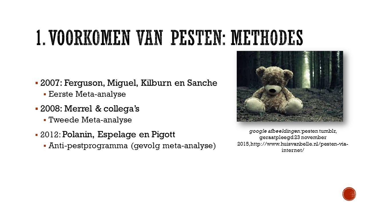  2007: Ferguson, Miguel, Kilburn en Sanche  Eerste Meta-analyse  2008: Merrel & collega's  Tweede Meta-analyse  2012: Polanin, Espelage en Pigott