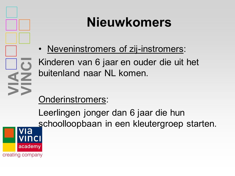 VIAVINCI Nieuwkomers Neveninstromers of zij-instromers: Kinderen van 6 jaar en ouder die uit het buitenland naar NL komen.