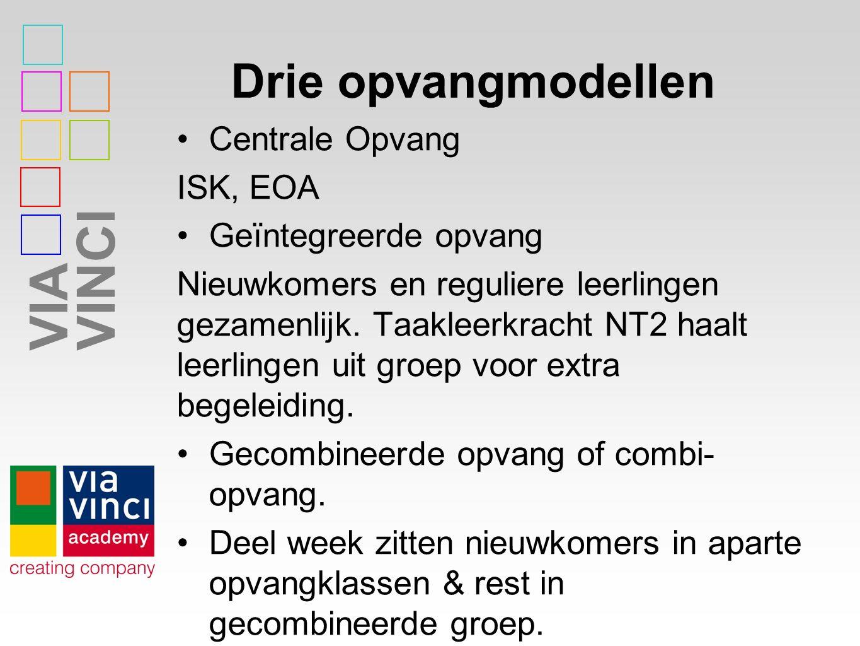 VIAVINCI Drie opvangmodellen Centrale Opvang ISK, EOA Geïntegreerde opvang Nieuwkomers en reguliere leerlingen gezamenlijk.