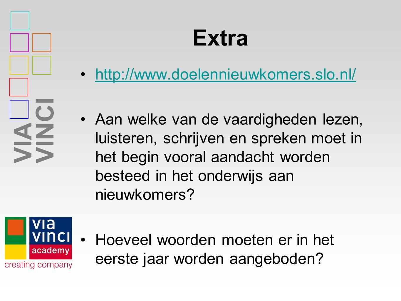 VIAVINCI Extra http://www.doelennieuwkomers.slo.nl/ Aan welke van de vaardigheden lezen, luisteren, schrijven en spreken moet in het begin vooral aandacht worden besteed in het onderwijs aan nieuwkomers.