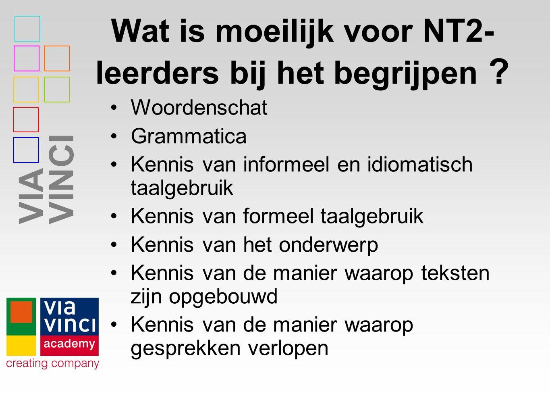 VIAVINCI Wat is moeilijk voor NT2- leerders bij het begrijpen .