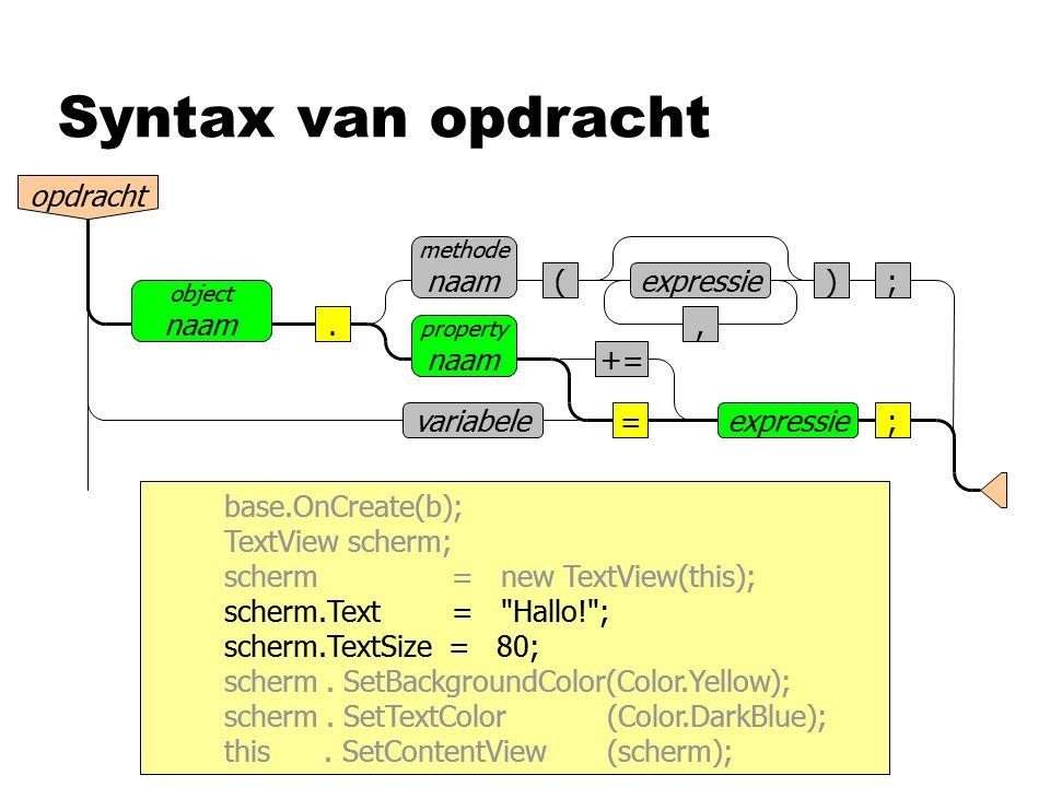 Syntax van opdracht opdracht (), ;expressie. methode naam =expressie; property naam object naam variabele += base.OnCreate(b); TextView scherm; scherm