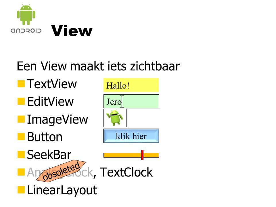 View Een View maakt iets zichtbaar nTextView nEditView nImageView nButton nSeekBar nAnalogClock, TextClock nLinearLayout Hallo.