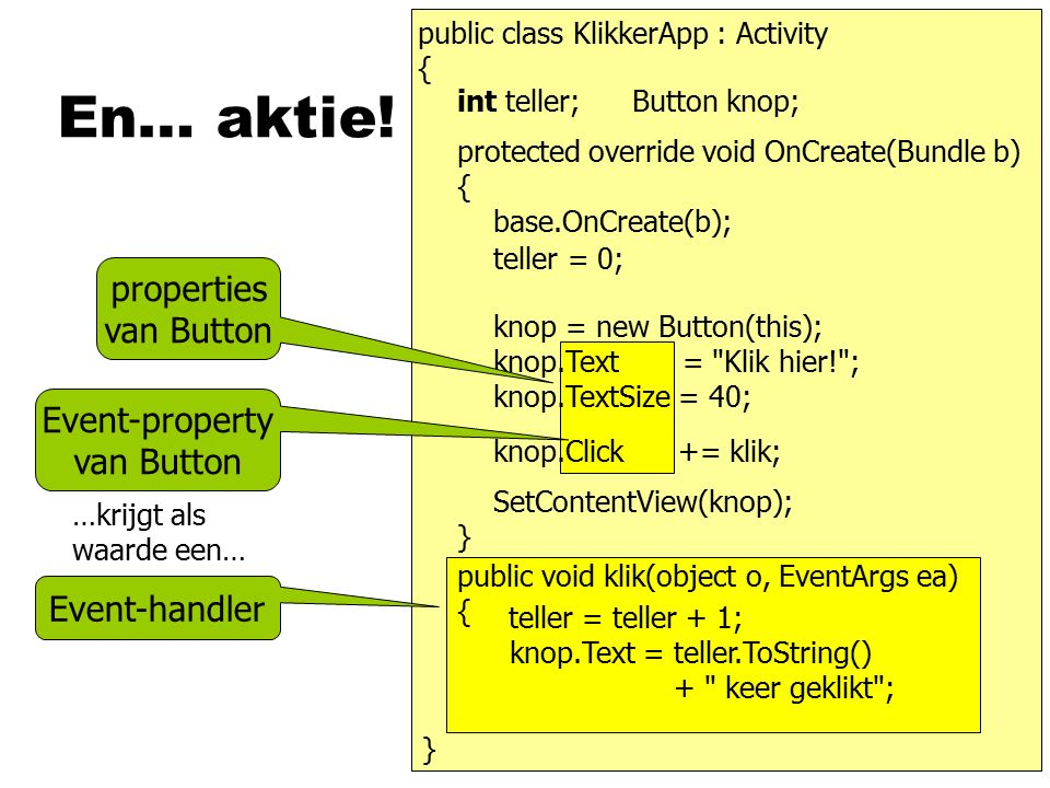 En… aktie! public class KlikkerApp : Activity { } } teller = 0; Button knop;int teller; protected override void OnCreate(Bundle b) { base.OnCreate(b);