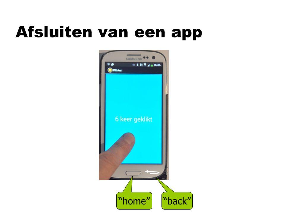 Afsluiten van een app back home