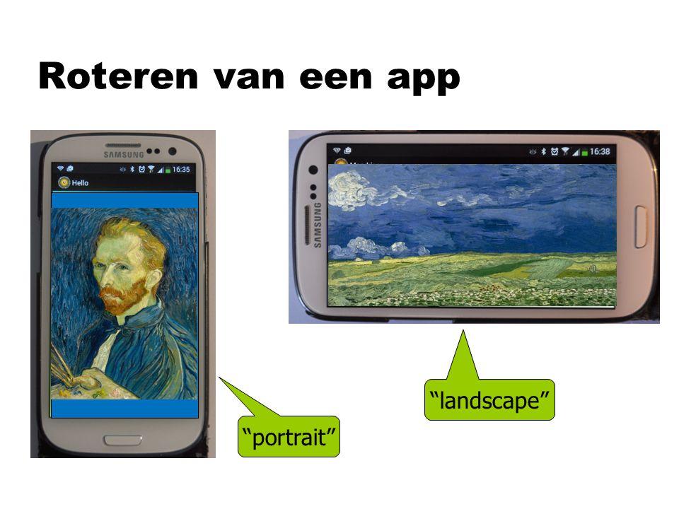 Roteren van een app landscape portrait