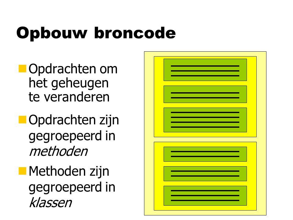 Opbouw broncode nOpdrachten om het geheugen te veranderen nOpdrachten zijn gegroepeerd in methoden nMethoden zijn gegroepeerd in klassen
