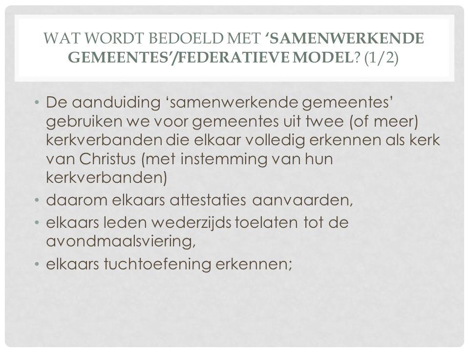WAT WORDT BEDOELD MET 'SAMENWERKENDE GEMEENTES'/FEDERATIEVE MODEL .