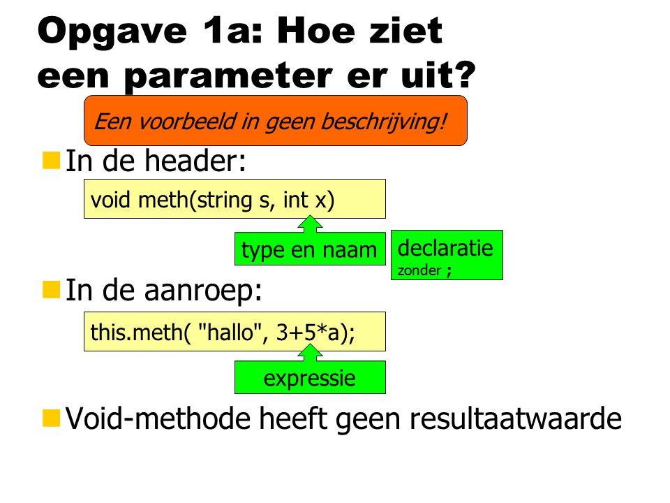 Opgave 1a: Hoe ziet een parameter er uit.