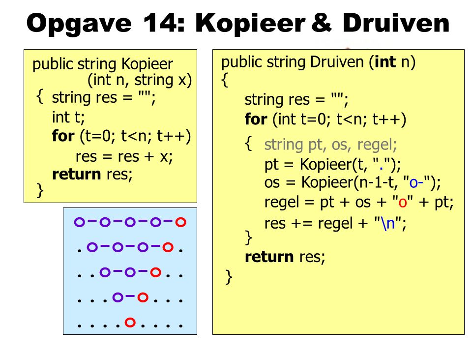 Opgave 14: Kopieer public string Kopieer } return res; public string Druiven (int n) } & Druiven string res = ; res = res + x; int t; for (t=0; t<n; t++) { return res; string res = ; for (int t=0; t<n; t++) { } res += regel + \n ; regel = pt + os + o + pt; pt = Kopieer(t, . ); os = Kopieer(n-1-t, o- ); string pt, os, regel; o-o-o-o-o.o-o-o-o...o-o-o.....o-o.......o....