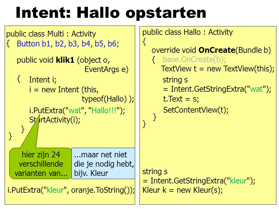 Intent: Hallo opstarten public class Multi : Activity { } Button b1, b2, b3, b4, b5, b6; public void klik1 (object o, EventArgs e) { } Intent i; i = n