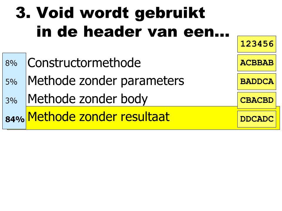 3. Void wordt gebruikt in de header van een… nConstructormethode nMethode zonder parameters nMethode zonder body nMethode zonder resultaat ACBBAB BADD