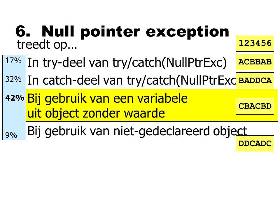6. Null pointer exception treedt op… nIn try-deel van try/catch(NullPtrExc) nIn catch-deel van try/catch(NullPtrExc) nBij gebruik van een variabele ui