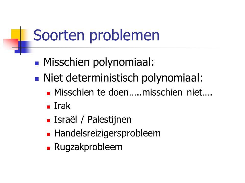Soorten problemen Misschien polynomiaal: Niet deterministisch polynomiaal: Misschien te doen…..misschien niet….