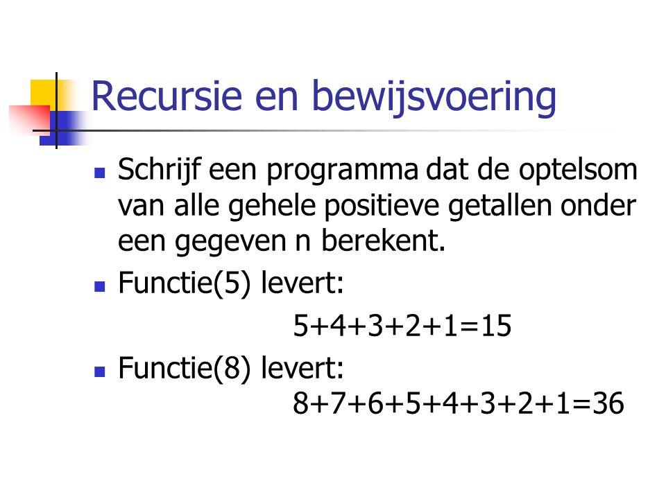 Recursie en bewijsvoering Schrijf een programma dat de optelsom van alle gehele positieve getallen onder een gegeven n berekent.