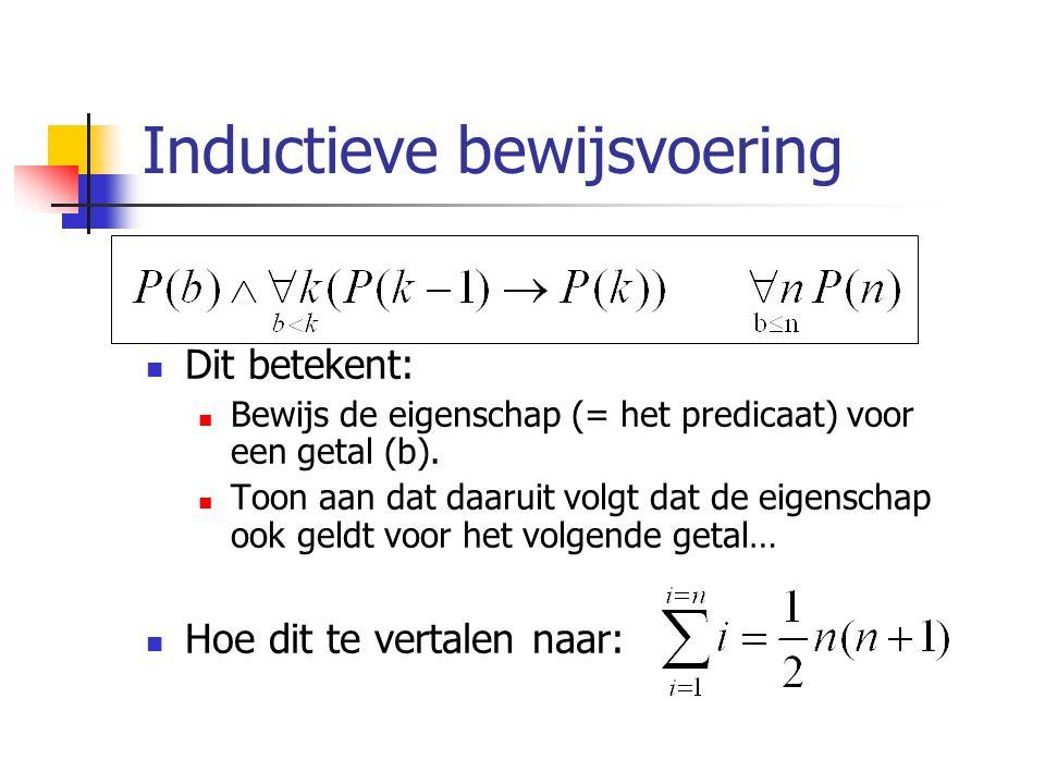 Inductieve bewijsvoering Dit betekent: Bewijs de eigenschap (= het predicaat) voor een getal (b).