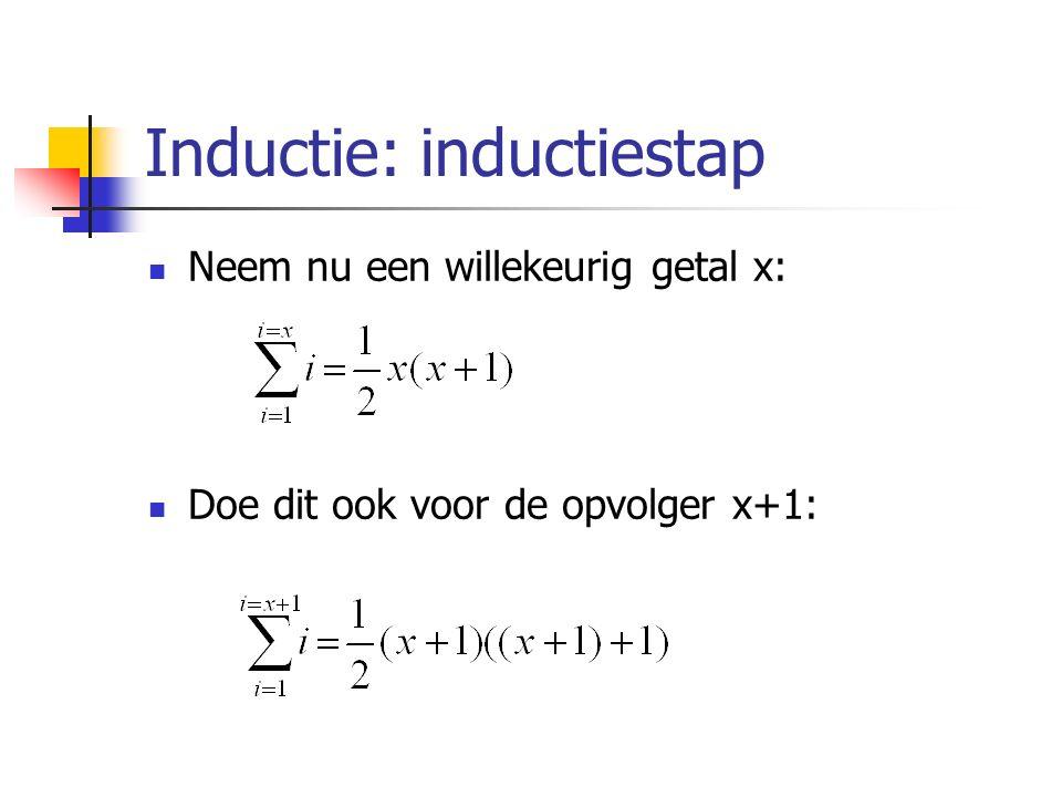 Inductie: inductiestap Neem nu een willekeurig getal x: Doe dit ook voor de opvolger x+1: