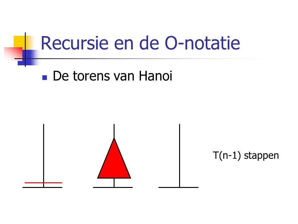 Recursie en de O-notatie De torens van Hanoi T(n-1) stappen