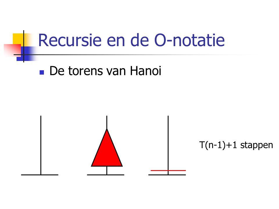 Recursie en de O-notatie De torens van Hanoi T(n-1)+1 stappen