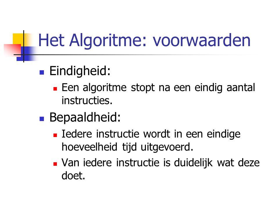 Het Algoritme: voorwaarden Eindigheid: Een algoritme stopt na een eindig aantal instructies.