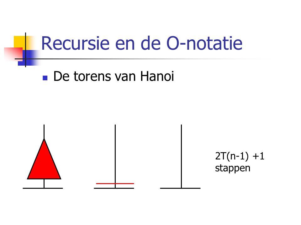 Recursie en de O-notatie De torens van Hanoi 2T(n-1) +1 stappen