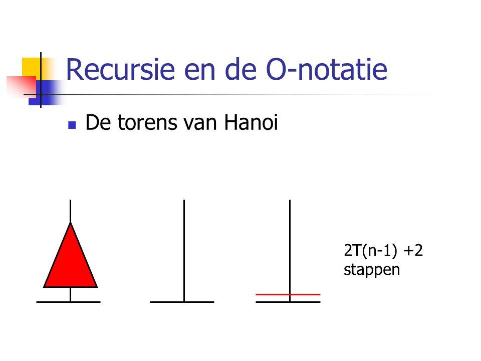 Recursie en de O-notatie De torens van Hanoi 2T(n-1) +2 stappen