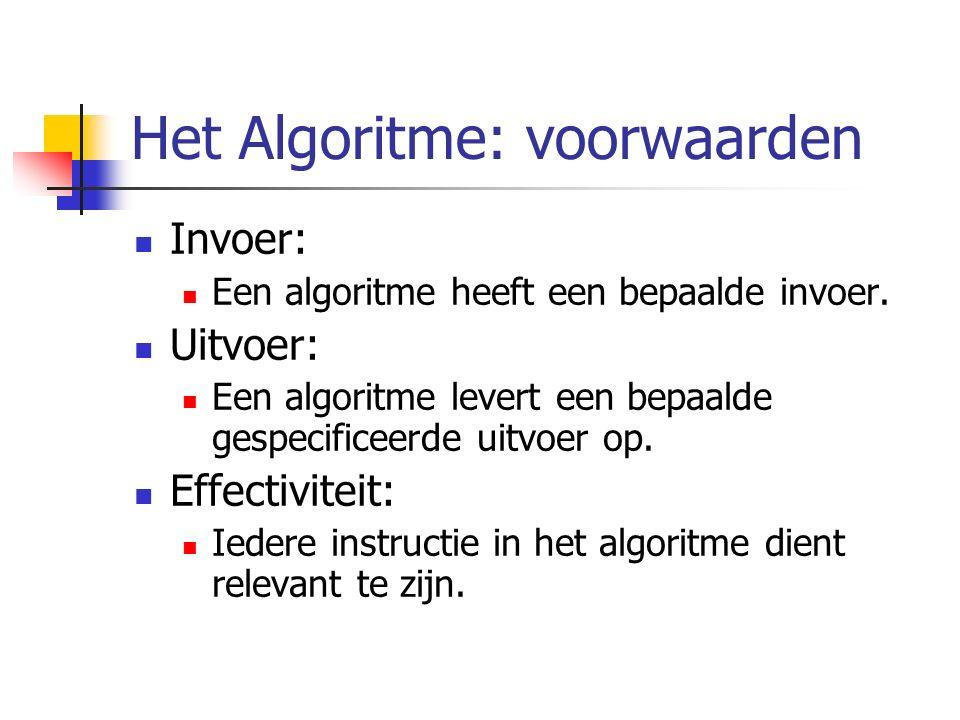 Het Algoritme: voorwaarden Invoer: Een algoritme heeft een bepaalde invoer.