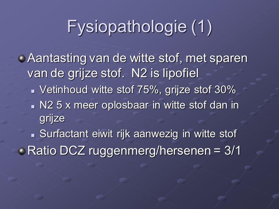 Fysiopathologie (1) Aantasting van de witte stof, met sparen van de grijze stof.